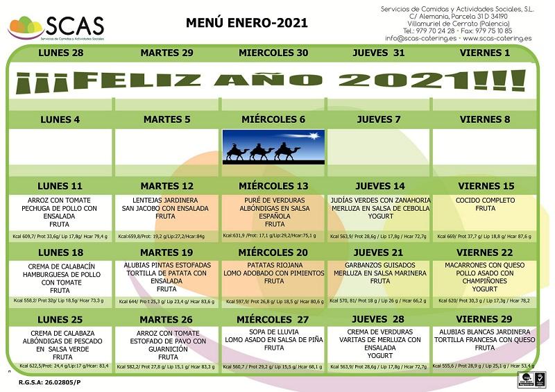 Menu enero 2021 Colegio Rafaela María