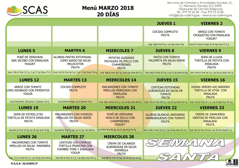 menu marzo