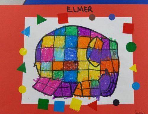 Un elefante de colores