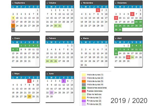 Calendario escolar 2019 / 2020