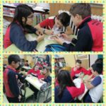 Los alumnos y alumnas de 6º de primaria del Colegio Rafaela María de Valladolid realizan una actividad de cambio de moneda.