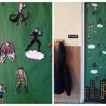 Los alumnos y alumnas de 6º de Primaria del Colegio Rafaela María decoran la puerta de clase.